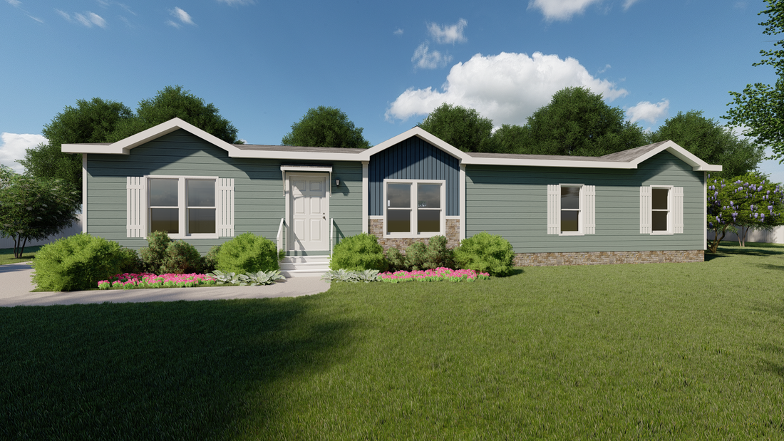 The THE PECOS 28 Exterior. This Manufactured Mobile Home features 3 bedrooms and 2 baths.