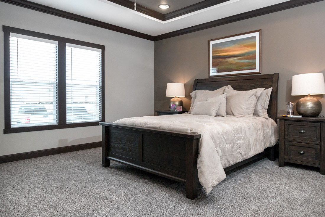 The THE NILE Master Bedroom. This Manufactured Mobile Home features 3 bedrooms and 2 baths.