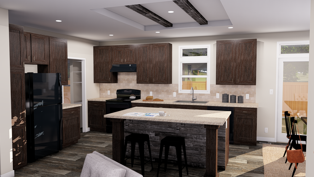 The ANNIVERSARY 3.0 Kitchen. This Manufactured Mobile Home features 3 bedrooms and 2 baths.