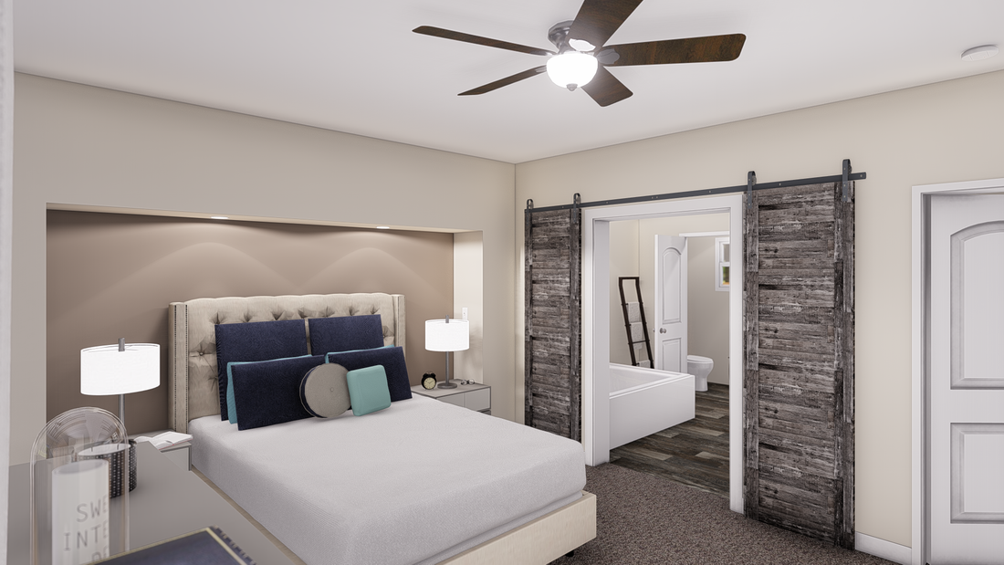 The ANNIVERSARY 3.0 Master Bedroom. This Manufactured Mobile Home features 3 bedrooms and 2 baths.