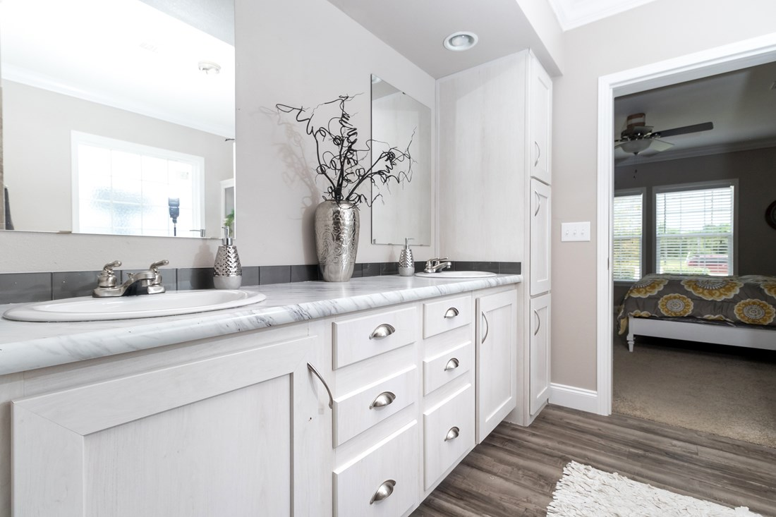 The THE AMAZON Master Bathroom. This Manufactured Mobile Home features 3 bedrooms and 2 baths.