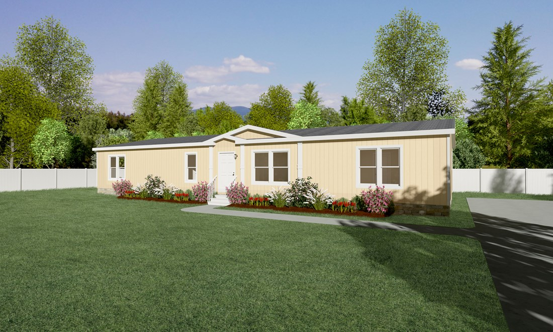 The THE GUADALUPE Exterior. This Manufactured Mobile Home features 3 bedrooms and 2 baths.