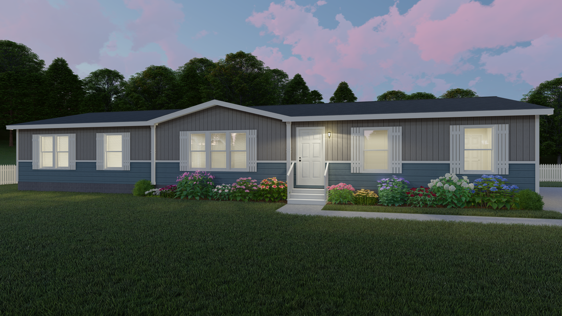 The THE BIG CLASSIC Exterior. This Manufactured Mobile Home features 4 bedrooms and 2 baths.