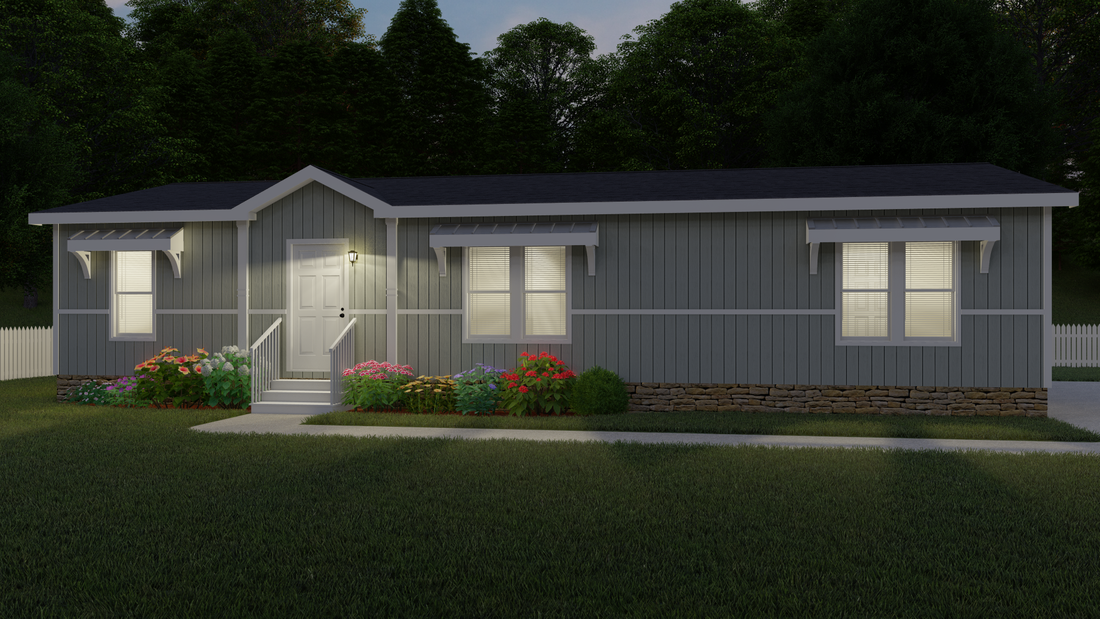 The THE HOUSTON 28 Exterior. This Manufactured Mobile Home features 3 bedrooms and 2 baths.