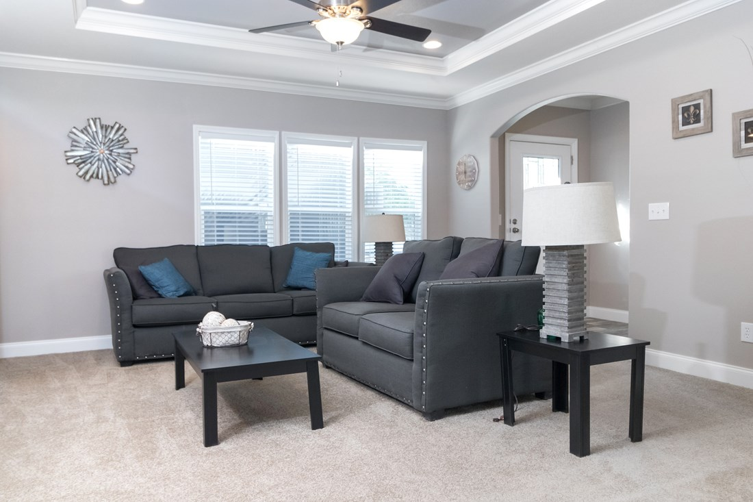 The THE TALLAHASSEE Living Room. This Manufactured Mobile Home features 3 bedrooms and 2 baths.