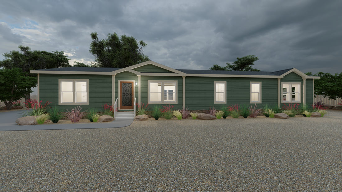 The THE NASHVILLE Exterior. This Manufactured Mobile Home features 4 bedrooms and 2 baths.